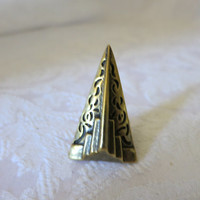 Ring Vintage Brass Size 7 unusual Pyramid