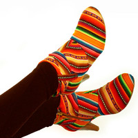CUSTOM MADE Booties, Ankle Boots Lined in Peruvian fabric, Peruvian Textile of your choice