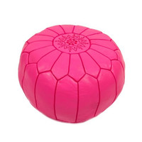 Hot Pink Leather Pouf