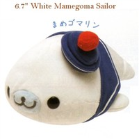 San-X Mamegoma Little Seals Sailor 6.7'' Plush: White Mamegoma