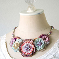 Floral Statement Necklace - Colorful Flowers and Vintage Buttons