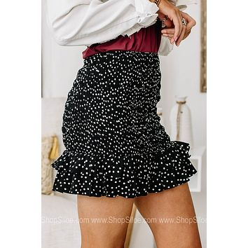 Time To Go Spotted Mini Skirt