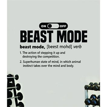 Beast Mode Definition Decal Sticker Wall Vinyl Art Wall Bedroom Room Home Decor Inspirational Motivational Teen Sports Gym Fitness Health Running