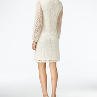 Style & Co. Sheer-Sleeve Lace Dress, Only at Macy's | macys.com