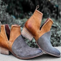 Leather Chunky Heel Ankle Boots