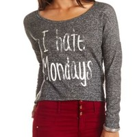 I Hate Mondays French Terry & Lace Sweatshirt - Charcoal Combo
