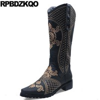 Cowgirl Long Vintage Knee High Shoes Retro Embroidery Stud Western Round Toe Embroidered Women Boots Winter 2017 Rivet Cowboy