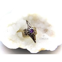 Medieval Wide Band Sterling Silver Shield Ring with Amethyst, Size 8 Ring