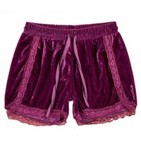 Velvet Soft Shorts with Lace