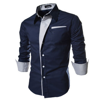 2016 Mens Casual Shirts Long Sleeved Shirt Business Slim Fit Male Shirt Social Striped Clothes Chemise Homme Plus Size XXXL 10