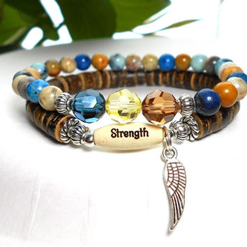 CHOOSE YOUR WORD Angel Wing Bracelet with Strength Message