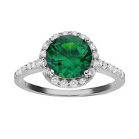 Sophie Miller Simulated Emerald & Cubic Zirconia Sterling Silver Halo Ring (Green)