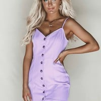Play It Lavender Button Denim Mini Dress