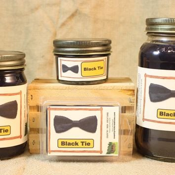 Black Tie Candle and Wax Melts, Male Fragrance Scent Candle, Highly Scented Candles and Wax Tarts, Gift for Him, Masculine Scent Candle