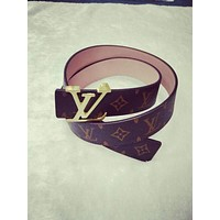 LV women's style smooth buckle belt