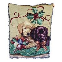 Tache Puppy's First Christmas Tapestry Throw Blanket with Fringe (1367)