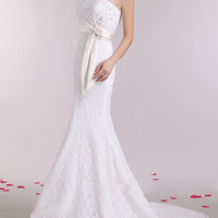 Elegant Strapless Sequined Lace and Bowknot Sash Design Women's Mermaid Wedding Dress
