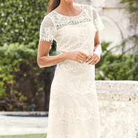 White Relaxing Fit Short Sleeved Knee-length Lace Dress