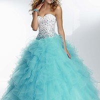 Ruffled Strapless Sweetheart Ball Gown
