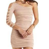 One Shoulder Glitter Bodycon Dress by Charlotte Russe - Champagne