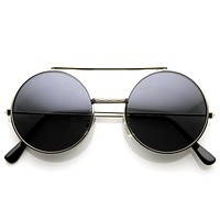 Steampunk Vintage Retro Round Circle Flip Up Sunglasses 8795