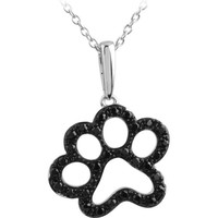 "ASPCA Tender Voices® Sterling Silver 1/3 CTW Black Diamond Animal Paw Print 18"" Necklace"