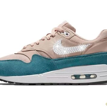 Women's Nike Air Max 1 + Crystals - Celestial Teal/Particle Beige
