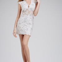 Fitted White Lace Short Dress 20902 - Homecoming Dresses