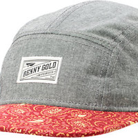 Benny Gold Cloud Paisley Grey & Red 5 Panel Hat