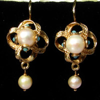 Vintage Victorian Style Pearl and Turquoise 14K Yellow Gold Dangle Earrings Floral Swirl Wedding Bridal Earrings Something Blue Jewelry!!