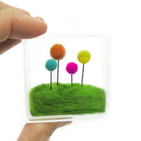 Miniature Terrarium Needle felted flowers and grass, Orange, Yellow, Teal and Pink Floral Home Decoration