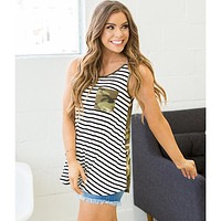Stripe and Camo Tank (Small-3XL)