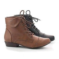 Indy11 By Breckelle's, Pointy Toe Folded Ankle Collar Lace Up Booties