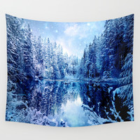 Blue Winter Wonderland : Forest Mirror Lake Wall Tapestry by 2sweet4words Designs