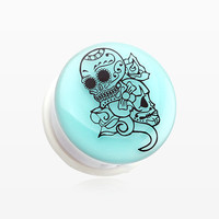zzz-A Pair of Glow in the Dark Floral Sugar Skull Single Flared Ear Gauge Plug