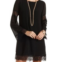 Lace-Trimmed Chiffon Shift Dress by Charlotte Russe