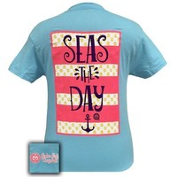 Sale Girlie Girl Southern Originals Seas the Day Anchor Sky Blue T-Shirt