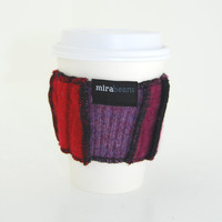 Coffee Cup Cozy in Upcycled Wool - Java Jacket - Red Fuchsia Pink