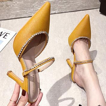 New sexy ladies fashion sandals pointed toe sequined high heels