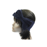 Navy Blue Knit Bow Headband