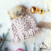 Soft Snow Knit Beanie in Blush