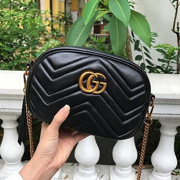 Gucci Fashion Women's Double G Wave Inclined Bag Hot Selling Shopping Bag Black