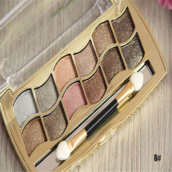 12 Color Glitter Eye Shadow with Professional Brush