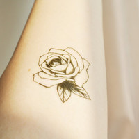 InknArt Temporary Tattoo - 2pcs Vintage Rose illustration wrist quote tattoo body sticker fake tattoo wedding tattoo small tattoo