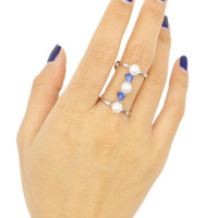 Silver Faux Pearl And Rehinestone Detail Open Ring