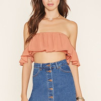 Off-the-Shoulder Crepe Crop Top