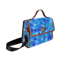 Autumn Colored Triangles Blue Waterproof Canvas Bag/All Over Print (Model 1641) | ID: D1839203