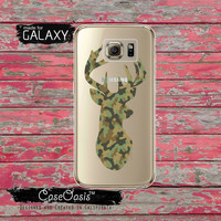 Deer Antlers Silhouette Green Camo Camouflage Hunting Clear Galaxy S6 Case and Clear Galaxy S6 Edge Case Custom Samsung Case