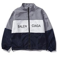 BALENCIAGA Trending Classic Women Men Stylish Letter Print Zipper Cardigan Sweatshirt Jacket Coat Windbreaker Sportswear Grey I12688-1
