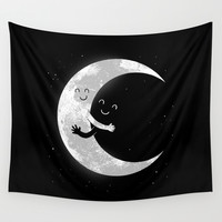 Moon Hug Wall Tapestry by Carbine